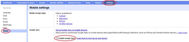 Enable Google Sync