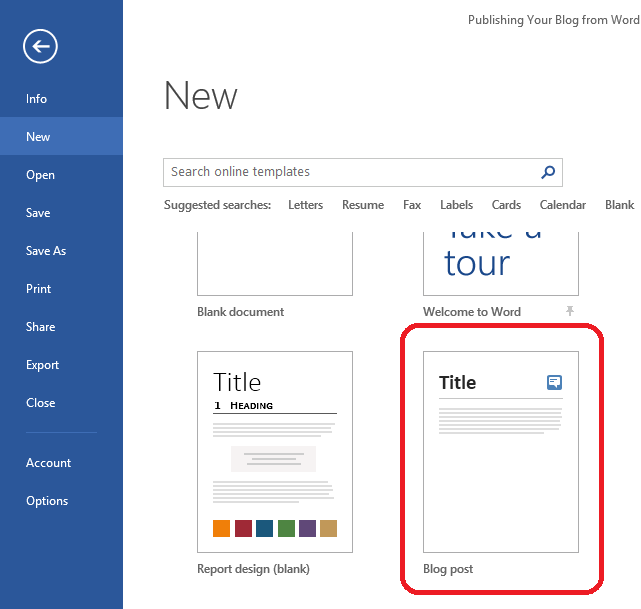 Publishing to your Blog from Word (1/2)