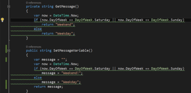 Highlighted Code Diagnostic