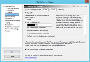 FileZilla Passive Mode Settings
