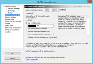 FileZilla Passive Mode Settings